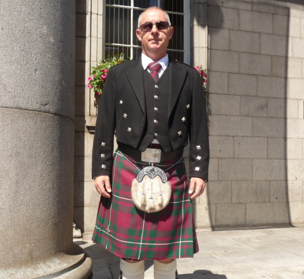 Craig in a Gorden Kilt in Aberbeen